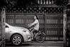 Bangkok By Bicycle #0218-2 (svenpetersen1965) Tags: bangkokstreet alley fence motorbike motorcycle street transport ขนส่ง รถมอเตอร์ไซค์ bangkok krungthepmahanakhon thailand th