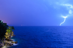 Recharging...... (Me-Ko) Tags: rijeka croatia lighting adriaticsea gulf sea kvarnergulf europe electricty shock rocks cliff night