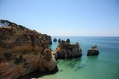 Praia Dos Tres Irmaos (Three Brothers Beach) (Andrew.King) Tags: praia beach nikon d7100 portugal rocks headland water sea trees sky blue