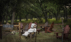 Wimberley Chair Makers (Jims_photos) Tags: wolfwimberleyoutdoorlivingfurniture wimberleytexas texas trees outdoor outside oldfence adobephotoshop adobelightroom shadows daytime fencefriday jimallen lightroom nopeople