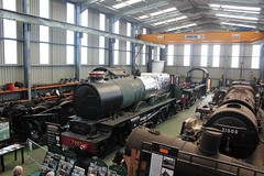 Overview of the Shed at Tyseley (cosmostrainadventures) Tags: birmingham openday steamlocomotive steamtrain cluncastle class6p 460 no5596 45596 bahamas lms londonmidlandscottishrailway no7029 greatwesternrailway gwr turntable tyseley tyseleylocomotiveworks 4073class castleclass underoverhaul overhaul takentobits class8p no71000 dukeofgloucester 462 britishrailways riddlesdesigned lnwr londonnorthwesternrailway class2f 062t coaltank tankengine no1054 no7799 no58926 webbdesign