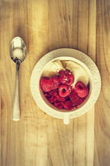 Raspberry Ice & Vanilla Ice Cream (flashfix) Tags: august282016 2016 2016inphotos nikond7000 nikon ottawa ontario canada 40mm sweetsunday happysweetsunday hss raspberryice fruit honey teacup foodphotography dessert sweet treat refreshing