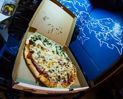 pizza fish eye (257/366) (severalsnakes) Tags: ks2 missouri pentax rokinon835 saraspaedy sedalia carryout caseys dinner fastfood fisheye food kitchen mural pizza