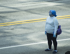 Sadness stands alone (CptSpeedy) Tags: walt disney pixar animated movie insideout joy anger sad blue feelings emotion dragoncon dragon con convention atlanta parade performer outdoors