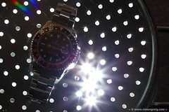 Flash Watch (Simon Greig Photo) Tags: 16710 closeup flash gmt gmtmasterii light macro rolex studio swiss timepiece watch
