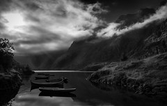 (strupert) Tags: reflections boats clouds mountains sunrays mist foggy monochrome bnw blackandwhite norway lofoten
