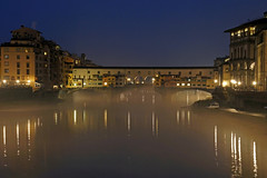 Rainy evening at the Arno ~ EXPLORE (dorena-wm) Tags: italien bridge light italy mist reflection rain fog river evening abend licht florence nebel explore rainy firenze arno blau brcke fluss spiegelung regen pontevecchio 2012 februar florenz explored dorenawm
