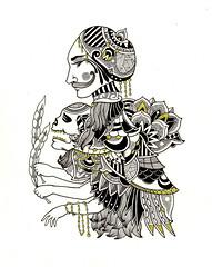 Offerings (M. de Vena) Tags: face fashion illustration ink dark skull gold design persian asia pattern drawing wing mustache ornate fecalface mdevena humanhydra