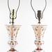 4017. Pair of Bohemian Painted and Cut Glass Lamps