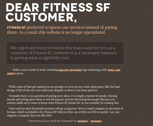 Fitness SF preferred to ignore our invoices instead of paying them. As a result this website is no longer operational.