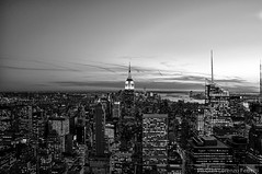 New York City From Top Of The Rock (Gian Lorenzo) Tags: new york nyc sunset white black building rock state top empire rockefeller