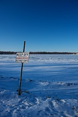 Keep Off (edwardhorsford) Tags: christmas usa lake holiday snow cold ice minnesota sign warning frozen us dangerous wide minneapolis off harriet keep mn