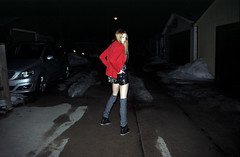 (abbsm) Tags: blue red orange film girl leather 35mm project dark hair student model eyes friend university darkness leg inspired best sneakers nighttime blonde shorts warmers blazer wedge