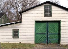Somebody's Barn  --  Albany, NY (greenthumb_38) Tags: door white newyork building green barn garage albany barndoor greenandwhite jeffreybass