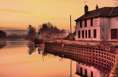 Misty Dawn on the River Aire. [Explored] (bojangles_1953) Tags: