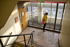 Floor 31 (Gary Kinsman) Tags: london tower window stairs londonbridge high view stairwell highrise canon350d vista lookingdown canonrebelxt southlondon 2009 se1 31stfloor guystower sigma18125mm