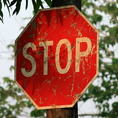Stop! (Tubroos!) Tags: road old urban sign america sunrise relax town belize central pg stop toledo worn snooze puntagorda siesta scratched chill dilapidated battered centroamerica takeiteasy octagonal donothing wellused