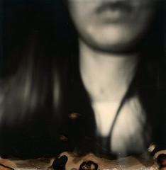 Self Portrait (kayla polaroid photography) Tags: selfportrait 600film analogfilm polaroid impossiblefilm minimalistic blackandwhite portrait ghostly surreal dreamlike