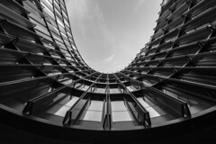 - Curved Look UP - (Mr. LookUP) Tags: urban urbanexplore urbanphotography streetphotography architecture building abstract lookup blackandwithe bw blackwhite canon 60d 1022mm wideangle joel 2015