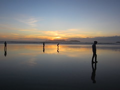 Borderless (lostmodern.net) Tags: beach sand sea sun sunset morocco essaouira reflection people sky infinity dream scape land