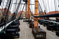 The Deck (rustyruth1959) Tags: nikon nikond3200 tamron16300mm hartlepool hmstrincomalee deck hartlepoolhistoricquay royalnavy ship frigate navy bow planks rope rigging museum buildings outdoor masts wood sail roof chimney history shipswheel wheel cannon