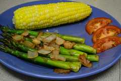 Corn on the Cob, Tomatoes, and Asparagus with Onions (Vegan) (Vegan Butterfly) Tags: vegetarian vegan yummy tasty delicious healthy supper plate dinner corn cob tomatoes asparagus onions veggies vegetables