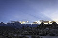 Mount Whitney Sun Rays (scun11) Tags: landscape nature mountwhitney sunrays summer evening california ca alabamahills sierras easternsierras westcoast lowlight longexposure outdoors rocks sky sun mountains lonepine sunset desert highdesert clouds