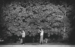 Tai Chi With Phones (Mister Day) Tags: trees park twopeople surreal