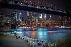 Walking around (karinavera) Tags: travel nikond5300 night brooklyn longexposure dumbobrooklyn urbanexploration water hispy nyc cityscape manhattan bridge city newyork