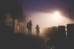 Hey dad, tell me one more story (_Moliveira) Tags: street color colour fog haze mist misty urban winter dark darkness foggy night