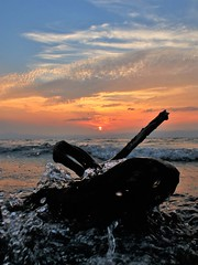 Driftwood - Sunset on Lake Biwa_8596 (Koichi1971) Tags: sunset shore cloud wave sky driftwood lake biwako water