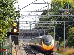 A Virgin Trains' Class 390 'Pendolino' speeds through Marston Green, Solihull, West Midlands (Steve Hobson) Tags: marston solihull west midlands green virgin trains pendolino class 390