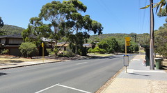Eliza Pl, Panorama (RS 1990) Tags: road street city panorama bus lines lights power view hill january stop cables adelaide cbd poles 20 southaustralia slope steep 2013 stobie elizapl