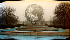 Unisphere < 5 Photos Digitally Stitched Panoramic > - Sepia And Color Mixed Together; Flushing (Queens), New York (hogophotoNY) Tags: cameraphone newyorkcity morning blue usa ny newyork color fountain fog sepia us nokia am phone unitedstates unique united foggy panoramic flushingmeadows queens queenspark newyorkstate worldsfair unisphere queensny queensnewyork nycpark nokiacellphone queensnewyorkcity stitchedpanoramic newyorkus nokiacellphonecamera nokia808 nokia808pureview queensnyus 808pureview nokiapureview808
