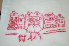 springtimeinparis2 (Two Hearts) Tags: street pink ladies girls dog lady hand tea handmade embroidery towel poodle flour embroidered teatowel embroider springtimeinparis floursack handembroidered