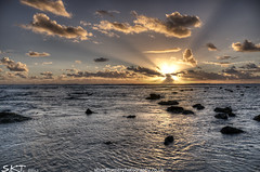 Sea and sky (stubeee) Tags: sea sun clouds spain rocks sunbeam vftw nikond300 stubeee stuartturnerphotography