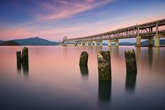 Richmond San Rafael Bridge (Lee Sie) Tags: california bridge blue sky reflection water clouds sunrise bayarea sanrafael mttamalpias uwb johnfmccarthymemorialbridge