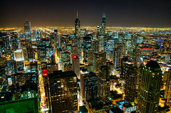 Chicago (benchorizo) Tags: city urban skyline buildings nikon downtown cityscape skyscrapers nightshot searstower trumptower hdr downtownchicago banias citynights johnhancockobservatory singlerawhdr benchorizo romeobanias