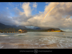 Hanalei Pier Rainbow (Steph Sawyer Photography (will catch up slowly)) Tags: sea rainbow paradise pacific kauai tropical hanaleipier princeville hanaleibay oceanscape hawaiiislands stephsawyerphotography