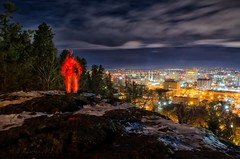 Glow Stick Man With a View (SimplyAmy74) Tags: longexposure lightpainting clouds washington spokane view citylights slowshutter longshutter glowsticks