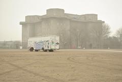 Heiligegenistfeld (St Pauli), Hamburg (J@ck!) Tags: concrete graffiti hamburg bunker ww2 parked trailer stpauli sanktpauli heiligegenistfeld