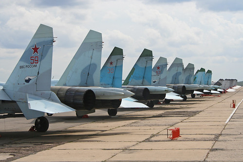 Russian Air Force fighter line-up at Chkalovsky