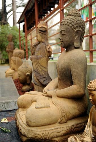 Statues of buddhas and bodhisattvas padmasambhava prayer wheel walk