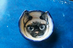 Siamese Cat Face Bowl by Sharon (Chipmunk Hill Arts) Tags: original art ceramics handmade clay handpainted studentwork allages bloomingtonindiana underglazes lofire chipmunkhill earthenwre
