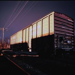Southern Boxcar (xbrucexx) Tags: camera longexposure b slr 120 6x6 film bulb night mediumformat square nocturnal kodak bronica ektar cablerelease bronicas2a s2a 214x214 kodakektar100