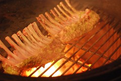 The fire was a bit too hot, but .................. (gadgetgeek) Tags: ribs lamb bge biggreenegg rackoflamb fridaydinner lambribs shadybrookfarm frenchedbones