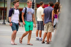 Guys on Michigan Avenue. (LarryJay99 ) Tags: street people hairy chicago streets male men guy legs streetlamp candid guys dude flipflop backpack flipflops males blackpeople streetphoto shorts candids backpacker streetscape hairylegs stud streetpeople streetshot malefeet peopleandpaths braghettoni canonefs18135mmf3556is streetphotographycandidstreetportrait ilobsterit