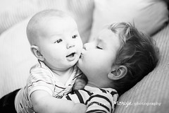 brothers (~moniqe~) Tags: portrait bw baby love boys kids children blackwhite toddler infant kiss dof sweet brothers ~moniqe~