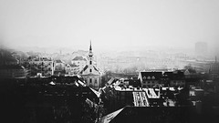 Blinded (E y e V i s i o n) Tags: street city light urban bw white black sunshine skyline dark hungary view bright budapest aerial counterlight