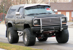 Big Black Ramcharger (Eyellgeteven) Tags: black big forsale 4x4 beefy dodge mopar suv 1980s madeinusa americanmade fourwheeldrive lifted bigtires ramcharger eyellgeteven